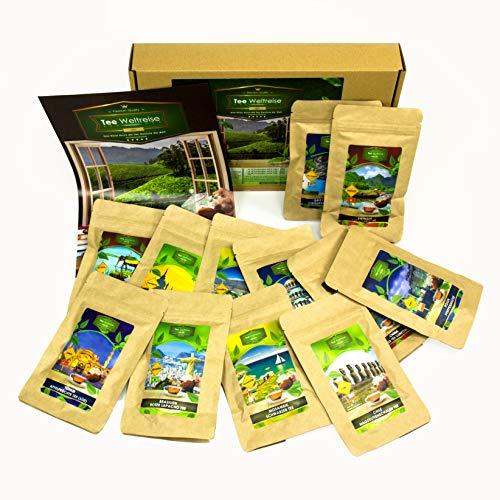 Thee proeverij set met aromatische theesoorten (12x7 kopjes) I ongebruikelijk cadeau idee theedoos I origineel cadeau voor vrouw je vriendin vriendin vrouwen (medium theetrip rond de wereld (12 soorten x 7 porties)