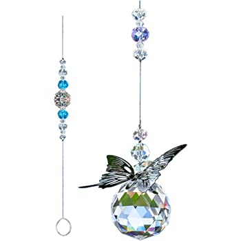 WEISIPU Crystals Ball Prisms Suncatchers - Hanging Ornament Crystals Butterfly Suncatchers with Clear Crystal Ball for Home, Office, Garden Decoration, Car Pendant, Birthday Present