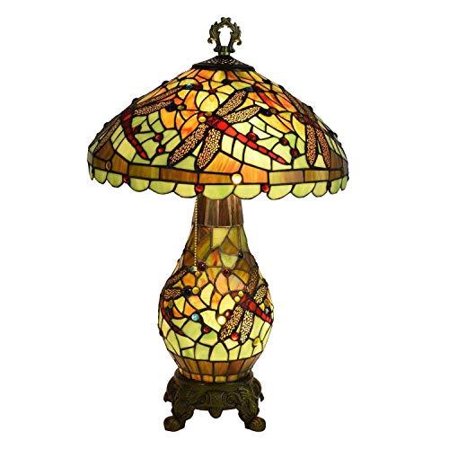 Lámpara de Mesa con Diseño de Libélula para Interiores,Lámparas de Noche con Pantalla de Vidrio Multicolor de 16 Pulgadas,Lámpara de Escritorio con Decoración de Cuentas de Cristal de 3 Luces Y Cade