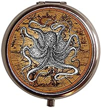 Victorian Octopus on Old Map Nautical Pill Box Case