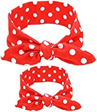 Shimmer Anna Shine Mommy and Me Matching Cotton and Spandex Stretch Headbands (Red Polka Dot)