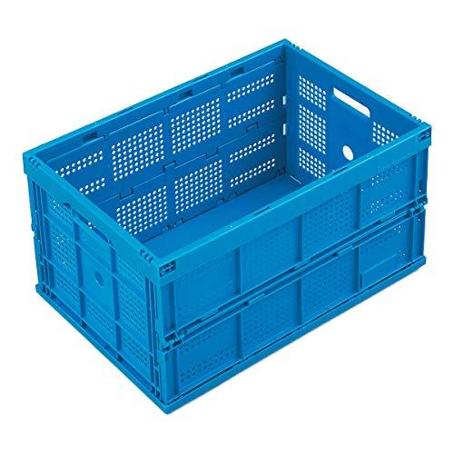 WALTHER Faltbox aus Polypropylen - Inhalt 60 l, ohne Deckel - blau, Ausführung durchbrochen - Faltbox Klappbox Lagerkasten Stapelkasten aus Kunststoff Transport-Behälter Transportkiste aus Kunststoff