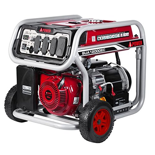 Ai Power SUA12000EC 12000-Watt Gas Powered Generator W/Electric Start (CARB/EPA), Wheel Kit Included