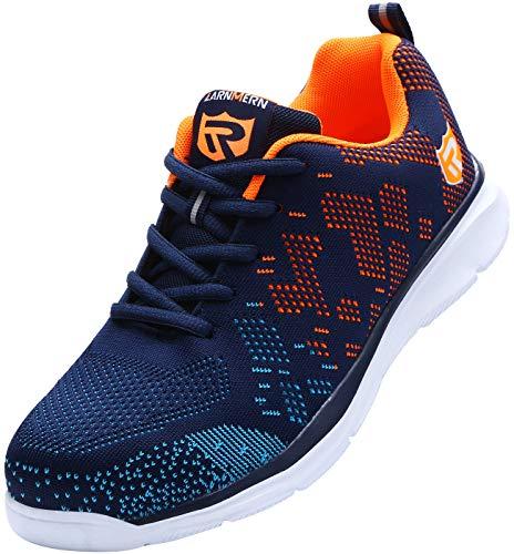 Zapatillas de Seguridad Mujer/Hombre DY-112, Zapatos de Trabajo con Punta de Acero Ultra Liviano Suave y cómodo Transpirable, Naranja Azul, 44 EU