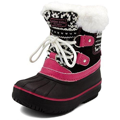 LONDON FOG Girls Toddler Tottenham Cold Weather Snow Boot BK/PK Size 9 Toddler Black/Pink