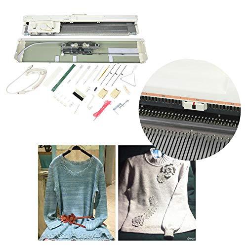 Elektronische Strickmaschine, SK840 Edelstahl 4,5 mm Standardstärke 200 Stiche Smart Weaving Loom Set 3-Nadel-Hochleistungsstrickmaschine Knitter-Nähzubehör für Hutschal-Pullover für Kinder Erwachsene