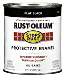 Rust-Oleum 7776502 Protective Enamel Paint Stops Rust, 32-Ounce, Flat Black