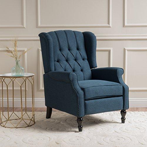 GDF Studio Elizabeth Tufted Dark Blue Fabric Recliner Arm Chair