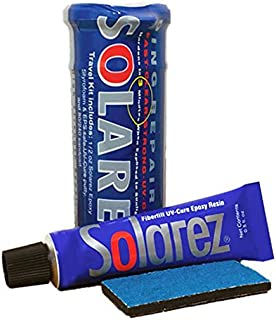 SOLAREZ UV Cure Epoxy Ding Repair Weenie Travel Kit (0.5 oz Tube) - SUP/Surfboard Repair - Fast Solar Cure Clear Resin w 60/240 Grit Sand Block w Crushproof Travel Container ~ EPS Safe!