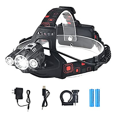LEd Headlamp Flashlight Waterproof Rechargeable Headlamps Cree T6 Headlight For Camping Hiking Hunting Running Working Outdoor Sports With 18650 Batteries Charger USB Cable
