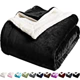 LBRO2M Sherpa Fleece Bed Blanket Queen Size Super Soft Fuzzy Plush Warm Cozy Fluffy Microfiber Couch Throw Velvet Double Reversible Luxurious Blankets,Black