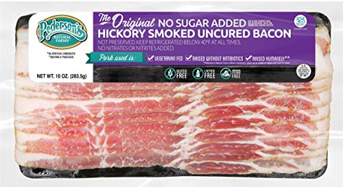 Pederson's Farms Hickory Smoked Uncured Bacon, Whole 30 (10 Pack, Use / Freeze) 10 oz ea - The Original, No Sugar Added Bacon, Keto Paleo Diet Friendly, No Nitrite Nitrate, Made in the US