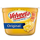 Eight 5.1 oz. big cups of Velveeta Original Shells and Cheese Velveeta Original Shells and Cheese Cups are an easy dinner that's ready in 5 minutes Easy shells and cheese meal includes shell pasta and original cheese sauce Contains no trans fats per ...