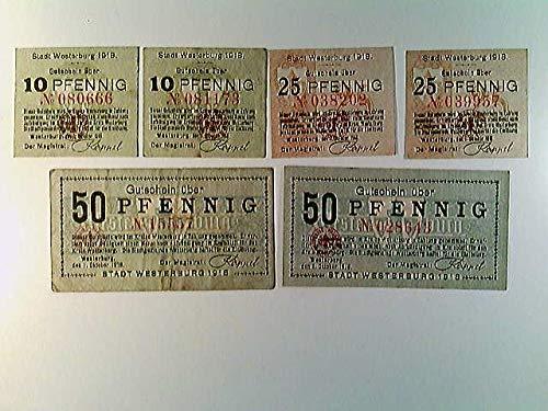 Notgeld, Stadt Glatz, Klodzko, je 2x 10, 25 und 50 Pfennig, 1918/ohne Datum