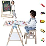 QZMTOY Kids Art Easel, Deluxe Standing Easel Set, Adjustable Art Table, Magnetic Dry Erase Board&Chalkboard Double Sided Stand, 360°Rotating Drawing Easels with Art Supplies, Adjust Height28-49inch