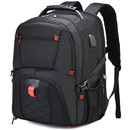 OSOCE Large Travel Backpack, Multi-Pocket and Big Capacity, 17.3-inch Business Laptop Rucksack with USB Charging and Headphone Ports