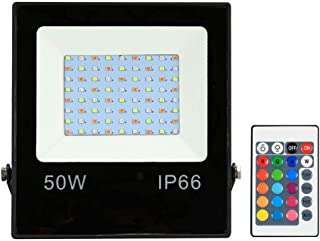Adaskala 10W LEDs RGB Floodlight with Remote Control 16 Colors & 4 Lighting Modes Brightness Adjustable IP65 Water- Outdoo...