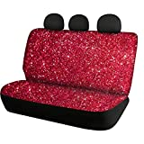 HUIACONG Red Shiny Print Back Seat Covers for Women Girly Bling Car Rear Seat Protector SUV Accessories Trunk Interior Bench Seat Cover for Dog Kids Universal Fit