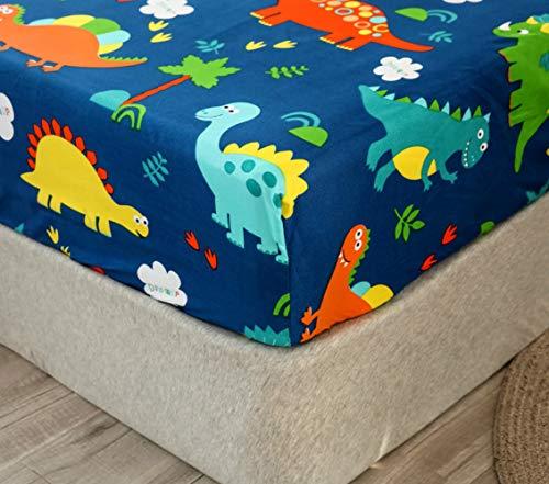 Chickwin 100{fb2ebf8221e0d3edce2bc11c147bd6632285aca9de2c114e0f526f5ef5d89de3} Polyester Spannbetttuch, Kind Cartoons Drucken Spannbetttuch Boxspringbett, Weiche Spannbettlaken Matratzenschoner für Bettw Sche, Steghöhe bis 30cm (Blauer Dinosaurier,90x200x30cm)