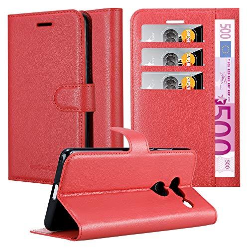 Cadorabo Hülle für LG G8 ThinQ in Karmin ROT - Handyhülle mit Magnetverschluss, Standfunktion & Kartenfach - Hülle Cover Schutzhülle Etui Tasche Book Klapp Style