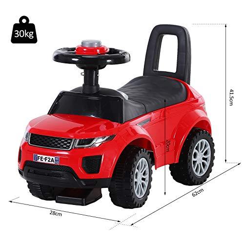 HOMCOM 2-in-1 Ride On Car Foot To Floor Slider Toddler w/ Horn Steering Wheel NO POWER Manual Under Seat Storage Safe Design Red