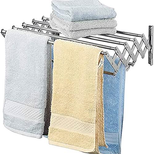 Ropa de Secado, Montaje en Pared Rack Space-Whark Foldable Ideal para baño o lavandería Acero Inoxidable Abrigo de Pared de Pared Opcional. (Size : 60Cm)