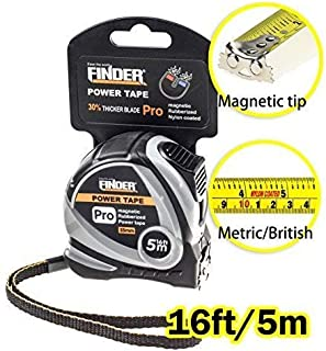 Finder 16ft(5m)Tape Measure inch/cm Metric,Inches and Sturdy Retractable Professional Measurement with Magentic Hook,fast read,Heavy Duty Front side Ruler Durable for Intensive Use