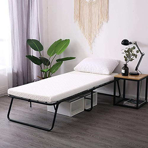 Leisuit Rollaway Guest Bed with Memory Foam Mattress - Portable Folding Bed Frame for Spare Bedroom & Office