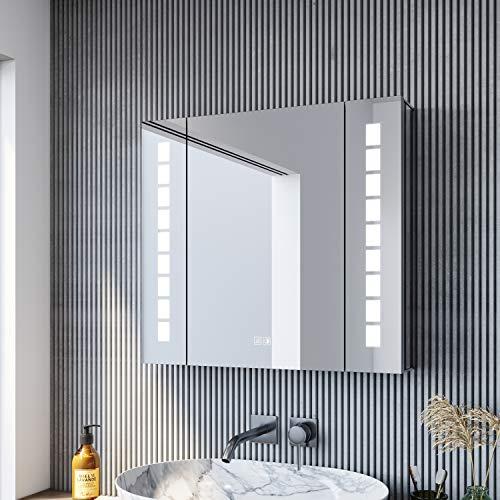 SONNI Spiegelschrank 60 × 65cm Spiegelschrank mit Beleuchtung und Steckdose beschlagfrei LED Spiegelschrank mit Touch Aluminium