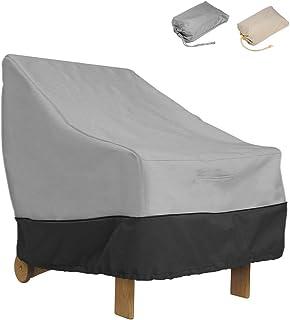 ZZX Funda para Sillón Individual, 210D Oxford Impermeable Transpirable Cubierta A Prueba De Polvo Silla Sofá Cubierta,Protectora para sillas de jardín y balcón Sillas,Gris,L