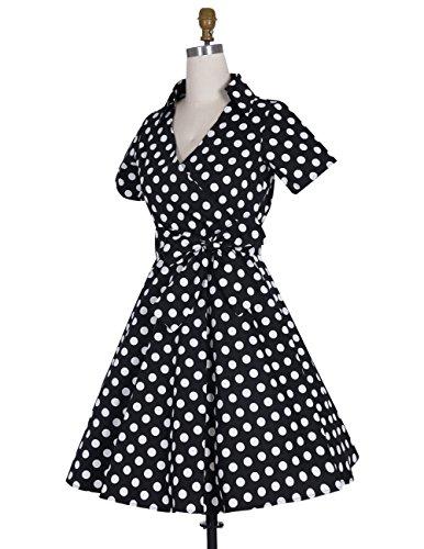 Dresstells Rockabilly Kleid 1950er Retro Polka Dots Kurz Faltenrock Petticoat Cocktailkleid Chocolate Dot XL - 4