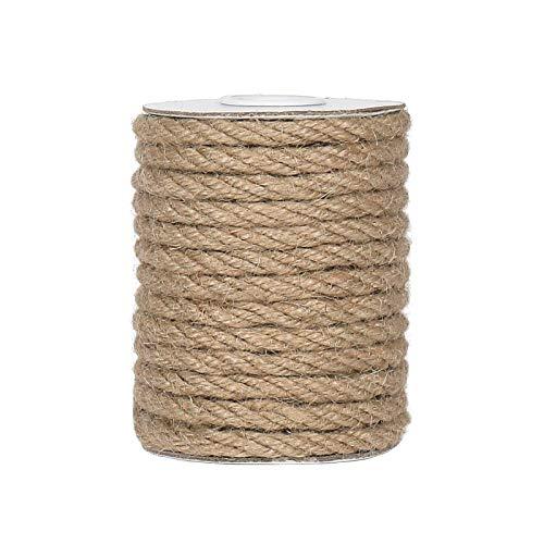 Tenn Well 6mm Jute Rope, 33 Feet Natural Craft Rope Thick Twine Rope for Gardening, Bundling, Decorating, DIY Crafts (Brown)