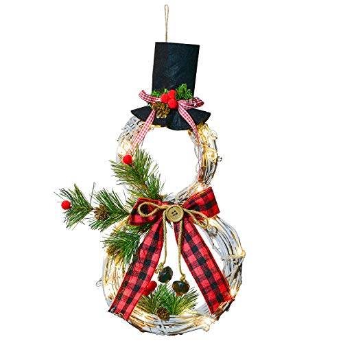 Lvydec Lighted Christmas Wreath Decoration - 16 x 8 Inch Grapevine Wreath with Hat and Bow Snowman Shape Wreath for Front Door Home Wall Decor (Red Bow)