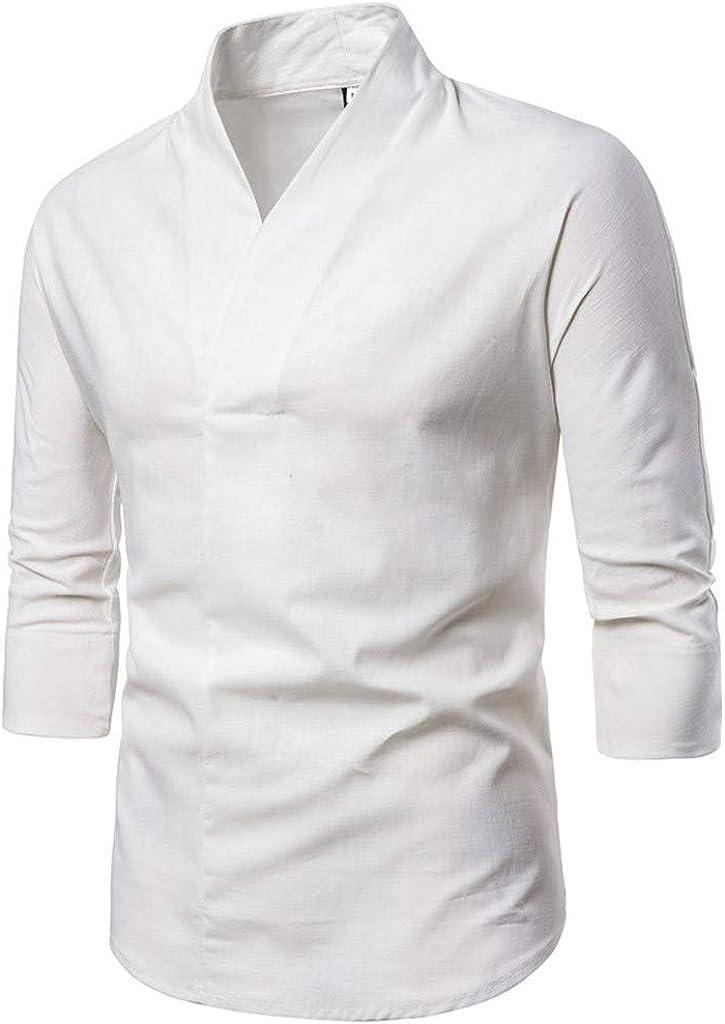 MODOQO Men's Shirt-Fashion Cotton Linen V-Neck Solid Color Long Sleeve Business Shirts