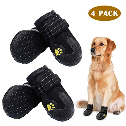PK.ZTopia Waterproof Dog Boots, Dog Outdoor Shoes, Dog Rain Shoes, Running Shoes for Medium to Large Dogs with Two Reflective Fastening Straps and Rugged Anti-Slip Sole (3.35' x2.95',Black 4PCS)