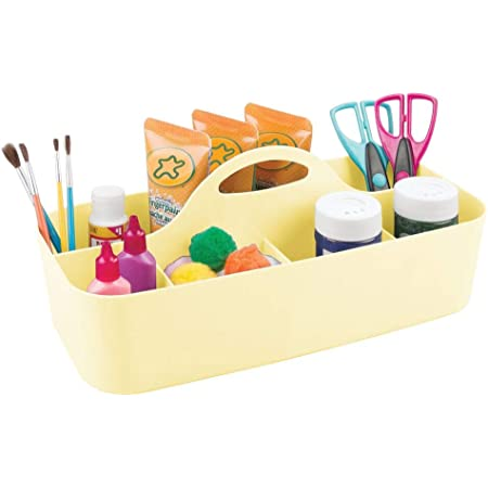 mDesign Art Supplies Organiser – Practical Plastic Arts and Crafts Storage Box with Carrying Handle – 11 Compartments Per Desk Organiser for Storing Many Items – Light Yellow