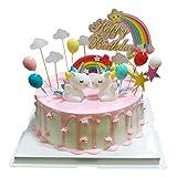 BluVast Decoración Tarta Unicornio, Decoraciones de Pasteles cumpleaños 29 Piezas para la Fiesta de la Fiesta de Bienvenida al bebé cumpleaños niñas Niños