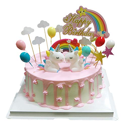 BluVast Cake Topper Kit,Decorazione Torta Unicorno, Unicorno Arcobaleno Palloncino Happy Birthday Topper Decorazione Torta per Bambini Ragazze Compleanno Baby Shower Party Set