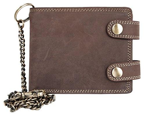FLW Billetera marrón estilo motero de cuero con cadena de metal