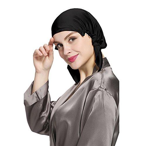 LilySilk Koreanische Still 100% Seide Schlafmütze Kopfbedeckung (Gr.1 Kopfumfang:58-94cm, Schwarz1) Verpackung MEHRWEG
