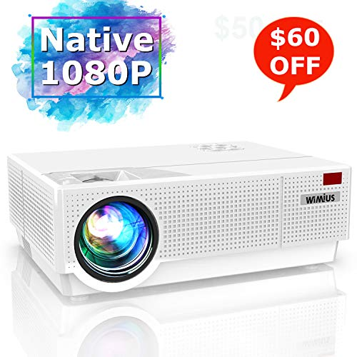 Projector, WiMiUS Newest P28 7000 Lumens LED Projector Native 1920x1080 Video Projector Support 4K Dolby 300'' Screen 4D ±50°Keystone Correction for Home Theater and PPT Presentation