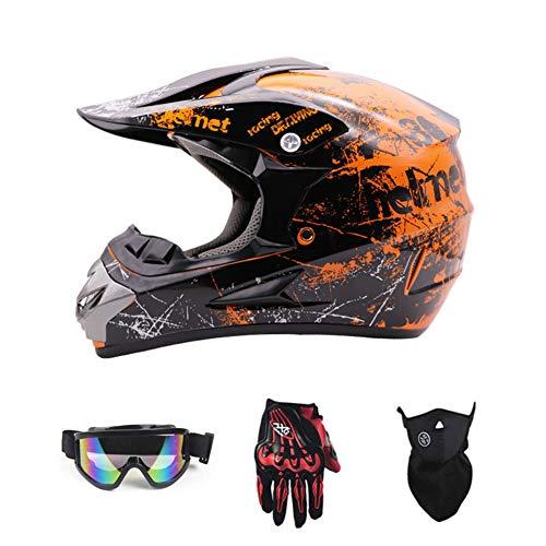 SanQing Motorrad-Sturzhelm, Jugend Kinder Dirt Bike Helme, Renn Motocross Fahrradhelm Vier Jahreszeiten universal (Handschuhe, Schutzbrille, Schutzmaske, 4-teiliges Set),Orange,L
