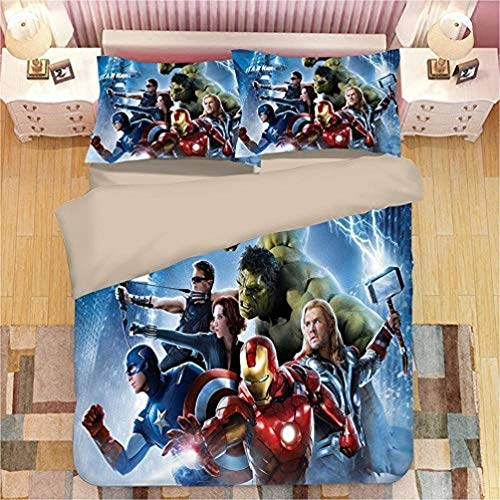 DCWE 3D Marvel Avengers Print Christmas Bed Linen Set 100% Polyester Duvet Cover Set of 3 with 2 Pillow Cases Gift Boy, l, 135*200CM