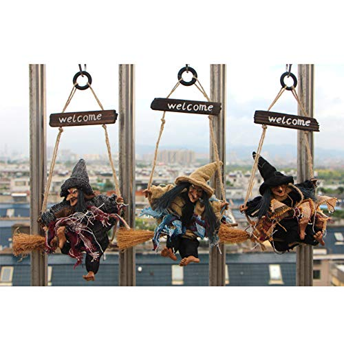 XHONG 3 piezas de bruja colgante animada, decoración de bruja animada para decorar accesorios en escoba, decoración de Halloween
