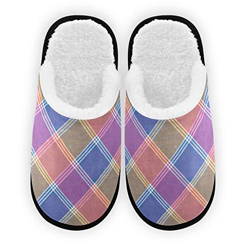 Zapatillas para hombre y mujer, forro de felpa, cómodo, cálido coral polar, tela diagonal, para la casa, para interior y exterior