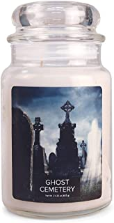 Village Candle Ghost Cemetery Large Glass Apothecary Jar Scented Candle, 21.25 oz, White