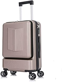 Password Travel Trolley case Female Front and Rear Open Suitcase Computer Business Travel Golden 24 inch