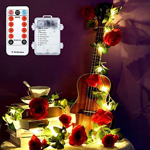 Valentinstag Blume Lichterkette, 6,5 Füße 20 LEDs Blume Licht, Batteriebetrieben mit 8 Modi, Fernbedienung und Timer Romantische Dekoration für Hochzeit Geburtstag (Rot Rose mit Blatt)