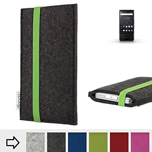 flat.design Handy Hülle Coimbra für BlackBerry KEYone Black Edition handgefertigte Handytasche Filz Tasche fair grün dunkelgrau