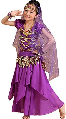 Astage Girls Princess Costume Halloween Dance Sets Purple L 9 to 10 Years